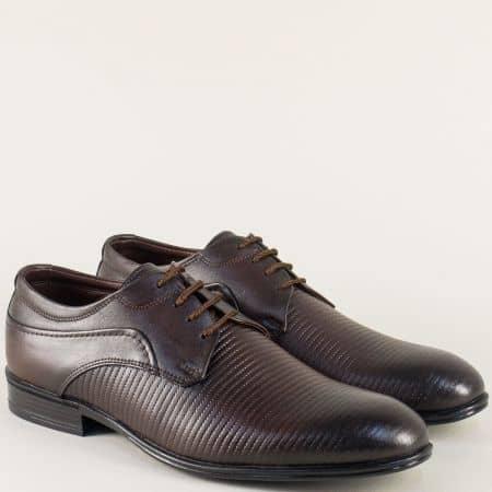 Тъмно кафяви дамски обувки с връзки от естествена кожа 20991kk