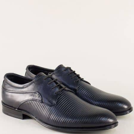 Тъмно сини мъжки обувки с връзки и кожена стелка 20991s
