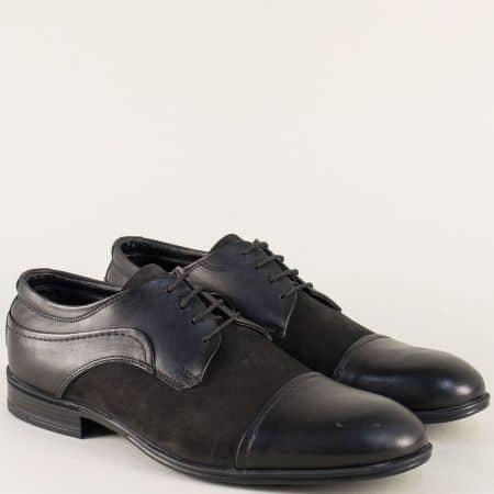 Черни мъжки обувки с връзки от естествен набук и кожа 2100ch