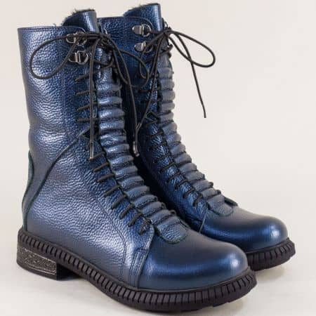 Сини дамски боти от естествена кожа с връзки и цип 2102091s