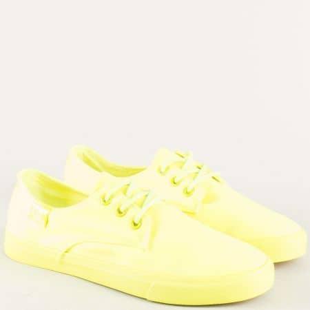 Неоново жълти дамски гуменки с връзки на равно ходило 2113j