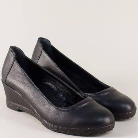 Черни дамски обувки от естествена кожа на клин ходило 21218ch