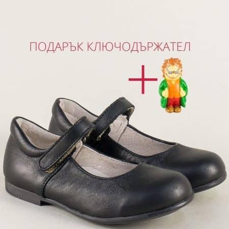 Детски обувки с лепка от естествена кожа в черен цвят 2121ch