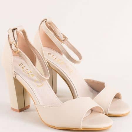 Бежови дамски сандали със затворена пета на висок ток- ELIZA 2122bj