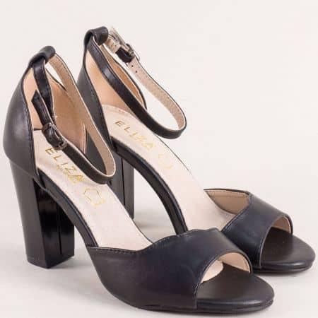 Черни дамски сандали със затворена пета на висок ток- ELIZA 2122ch