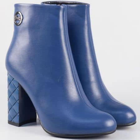 Дамски сини боти на ефектен висок ток- Eliza  21245s