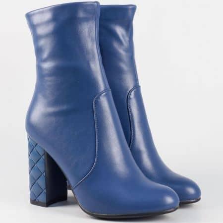 Стилни дамски боти на висок ток в син цвят 21256s