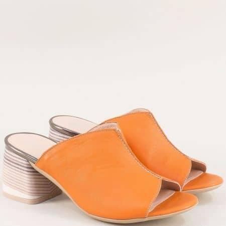 Дамски чехли на висок ток от естестествена кожа в оранж 2129o