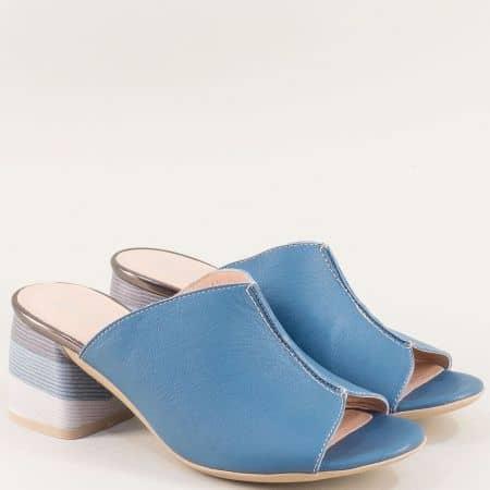 Дамски чехли в син цвят на висок ток с кожена стелка  2129s
