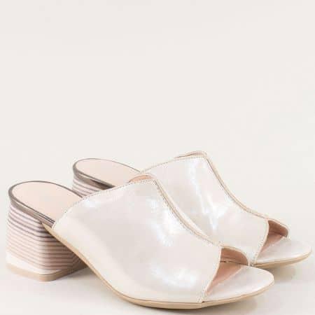 Дамски чехли от сатен и естествена кожа в бежов цвят 2129sbj