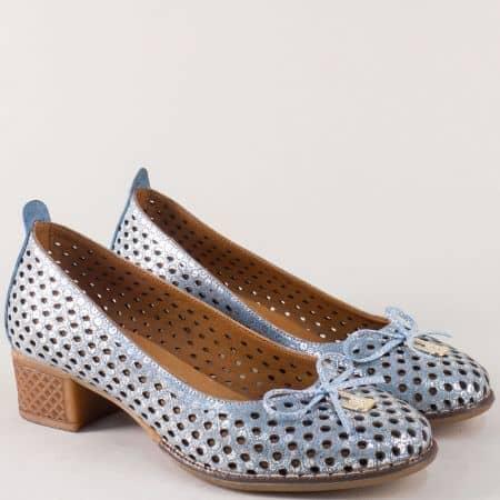 Дамски обувки на нисък ток в син цвят с метален блясък 2132ssr