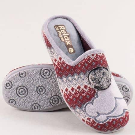 Дамски домашни пантофи в сиво и бордо- RELAX 2145bd