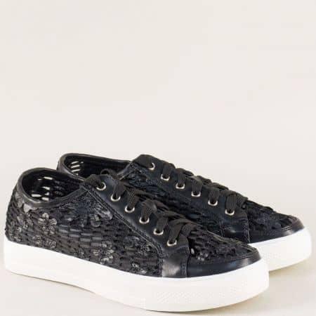 Дамски обувки на равно ходило в черен цвят 2153ch