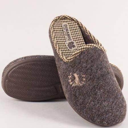 Мъжки домашни чехли в кафяво- DINAMIC 215601k
