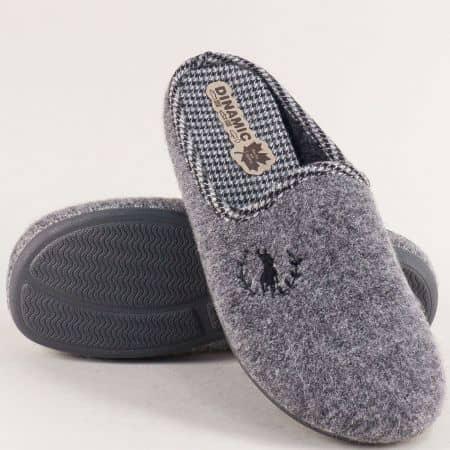 Мъжки домашни чехли в сив цвят- DINAMIC 215601sv