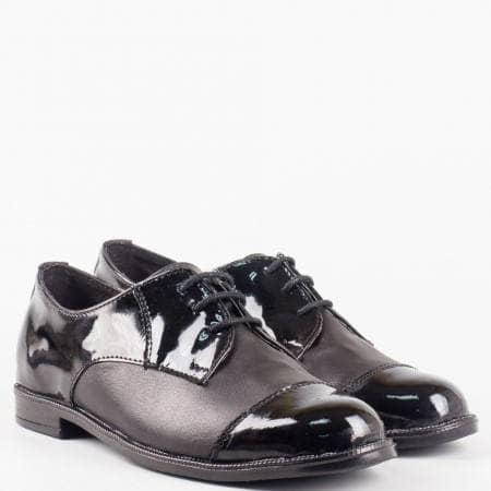 Ежедневни черни дамски обувки на удобно ходило с нисък ток и анатомична кожена стелка  2163133chlch