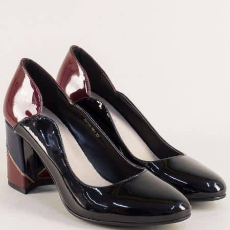 Лачени дамски обувки Елиза на ефектен ток 216881lps