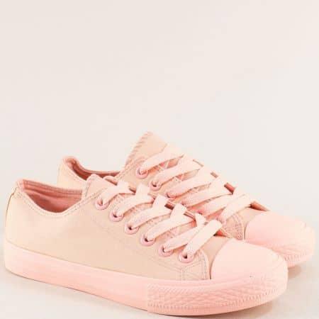 Дамски кецове в розов цвят на равно ходило с връзки 217-40rz