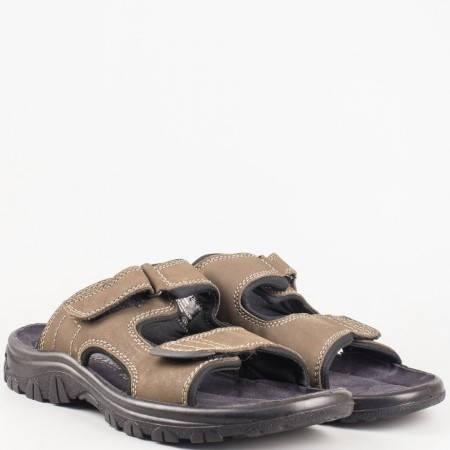 Мъжки чехли от естествена кожа в кафяво- Marco Tozzi 217400k