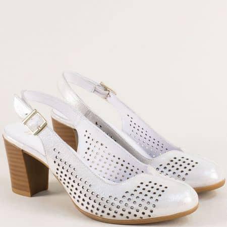 Бели дамски обувки с отворена пета на висок ток 2176sb