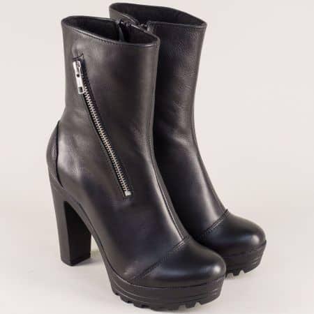 Дамски боти на висок ток от черна естествена кожа 21815493ch