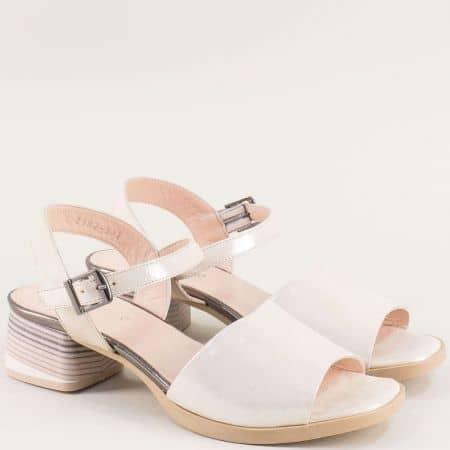 Бежови дамски сандали от естествена кожа и сатен 2187sbj