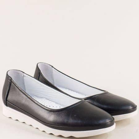 Равни дамски обувки с кожена стелка в черен цвят 2211ch