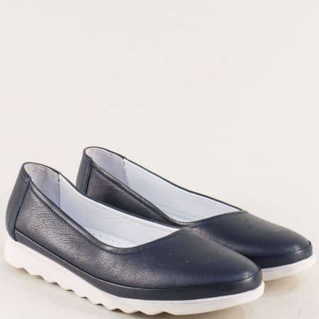 Равни дамски обувки от естествена кожа в тъмно син цвят 2211s