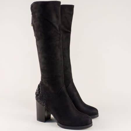 Черни дамски ботуши с дикорация на висок ток- ELIZA 221696vch