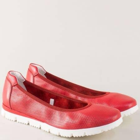 Червени дамски обувки на равно ходило от естествена кожа 222120chv