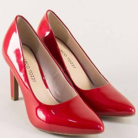 Лачени дамски обувки Marco Tozzi в червено на висок ток 2222415lchv
