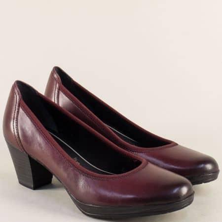 Дамски обувки от естествена кожа в бордо- Marco Tozzi  2222418bd