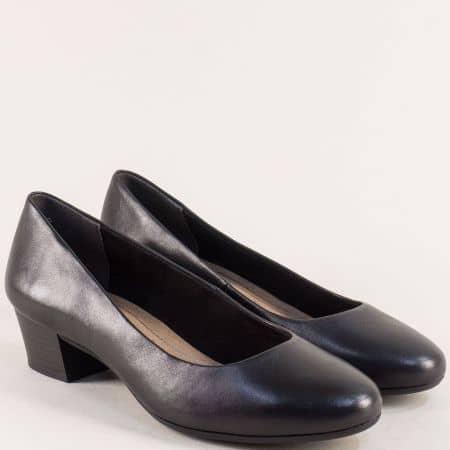 Черни дамски обувки на нисък ток от естествена кожа 222306ch