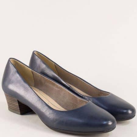 Тъмно сини дамски обувки на нисък ток с Memory пяна 222306s