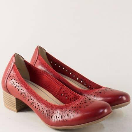 Червени дамски обувки с перфорация- Marco Tozzi  222309chv