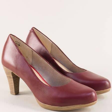 Дамски обувки от естествена кожа в бордо- Marco Tozzi 222408bd