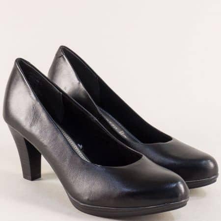 Дамски обувки- Marco Tozzi от черна естествена кожа 222408ch
