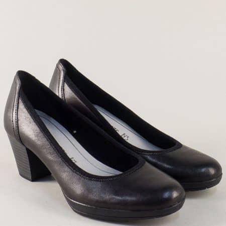 Черни дамски обувки Marco Tozzi от естествена кожа на среден ток 222420ch