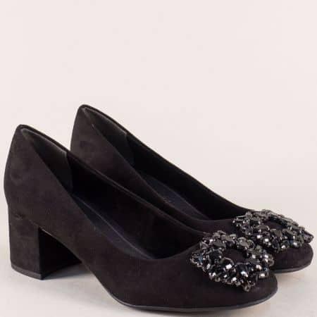 Дамски обувки на среден ток в черен цвят с камъни 222443vch