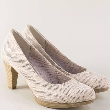 Перфорирани дамски обувки на висок ток в бежов цвят 222445nbj