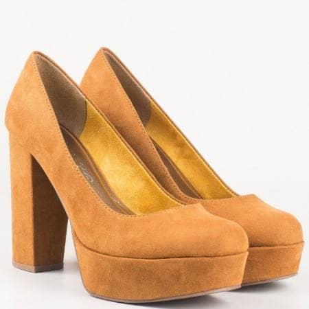 Немски обувки- дамски на всок ток в кафяв цвят 222446vk