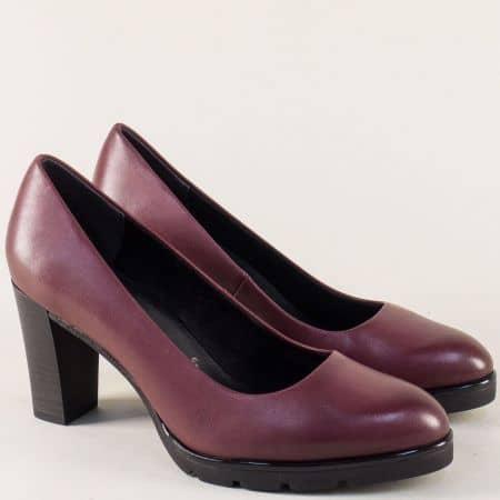 Кожени дамски обувки в цвят бордо- Marco Tozzi  222459bd