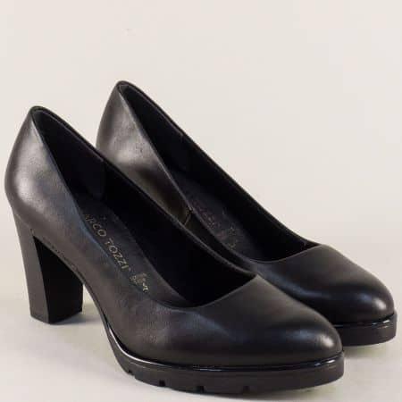Дамски обувки в черен цвят на висок ток и платформа 222459ch