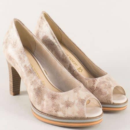 Кожени дамски обувки Marco Tozzi в бежово на висок ток 2229300bjps