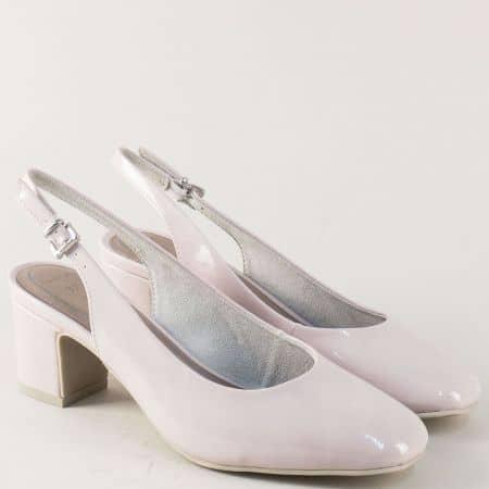 Бежови дамски обувки на ток с отворена пета- Marco Tozzi  2229600lbj
