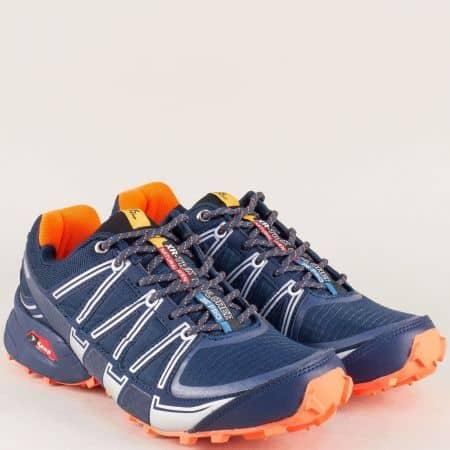 Мъжки маратонки на комфортно ходило в син и цвят оранж 223018-45so