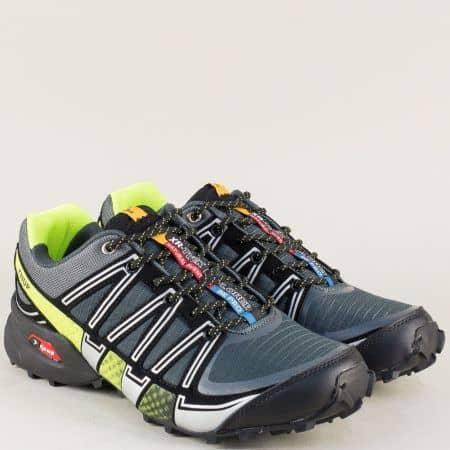 Мъжки маратонки на комфортно ходило в черен и зелен цвят 223021-45chz