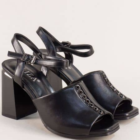 Черни дамски сандали на висок плътен ток 2233417ch