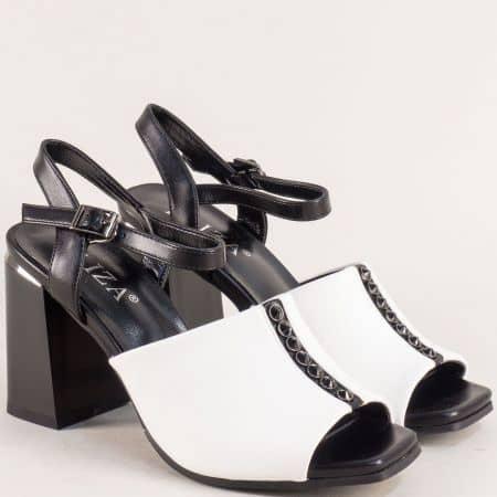 Дамски сандали на висок ток в черно и бяло- ELIZA 2233417chb