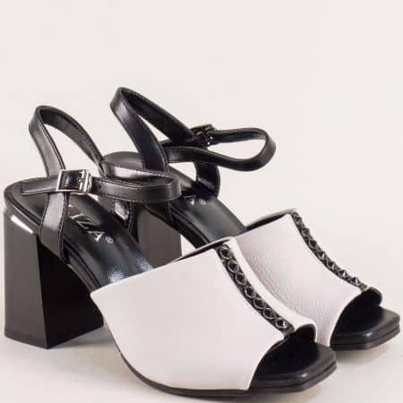 Дамски сандали в сиво и черно на ефектен висок ток 2233417chsv